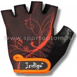 Перчатки для фитнеса женские INDIGO сетка,эластан,и/замша SB-16-1743 L Черно-оранжевый