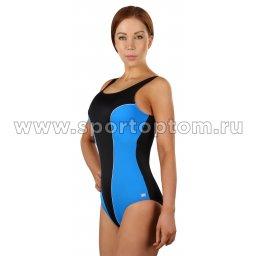 Купальник для плавания SHEPA совместный женский со вставками 031 Черно-голубой (3)