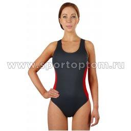 Купальник для плавания SHEPA слитный женский со вставками 006 Серо-красный