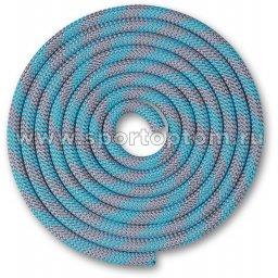 Скакалка для художественной гимнастики Утяжеленная 180 г INDIGO SM-360 3 м Серо-голубой