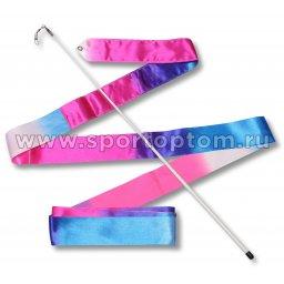 Лента гимнастическая с палочкой 56см АВ236-14 4,0 м Бело-сине-розовый