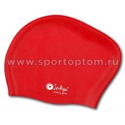 Шапочка для плавания силиконовая  длинные волосы INDIGO 807 SC Красный