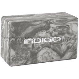 Блок для йоги INDIGO   IN259 22,8*15,2*7,6 см Мраморный серый