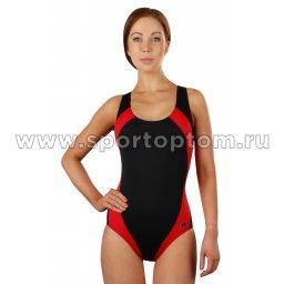 Купальник для плавания SHEPA слитный женский со вставками 009 Черно-красный