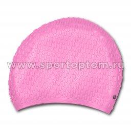 Шапочка для плавания силиконовая  длинные волосы рифленная INDIGO 705 SC Розовый