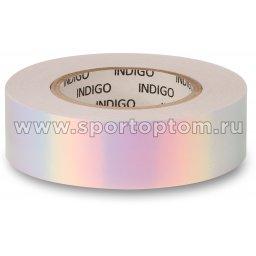 Обмотка для обруча с подкладкой INDIGO зеркальная RAINBOW IN151 20мм*14м Бело-фиолетовый